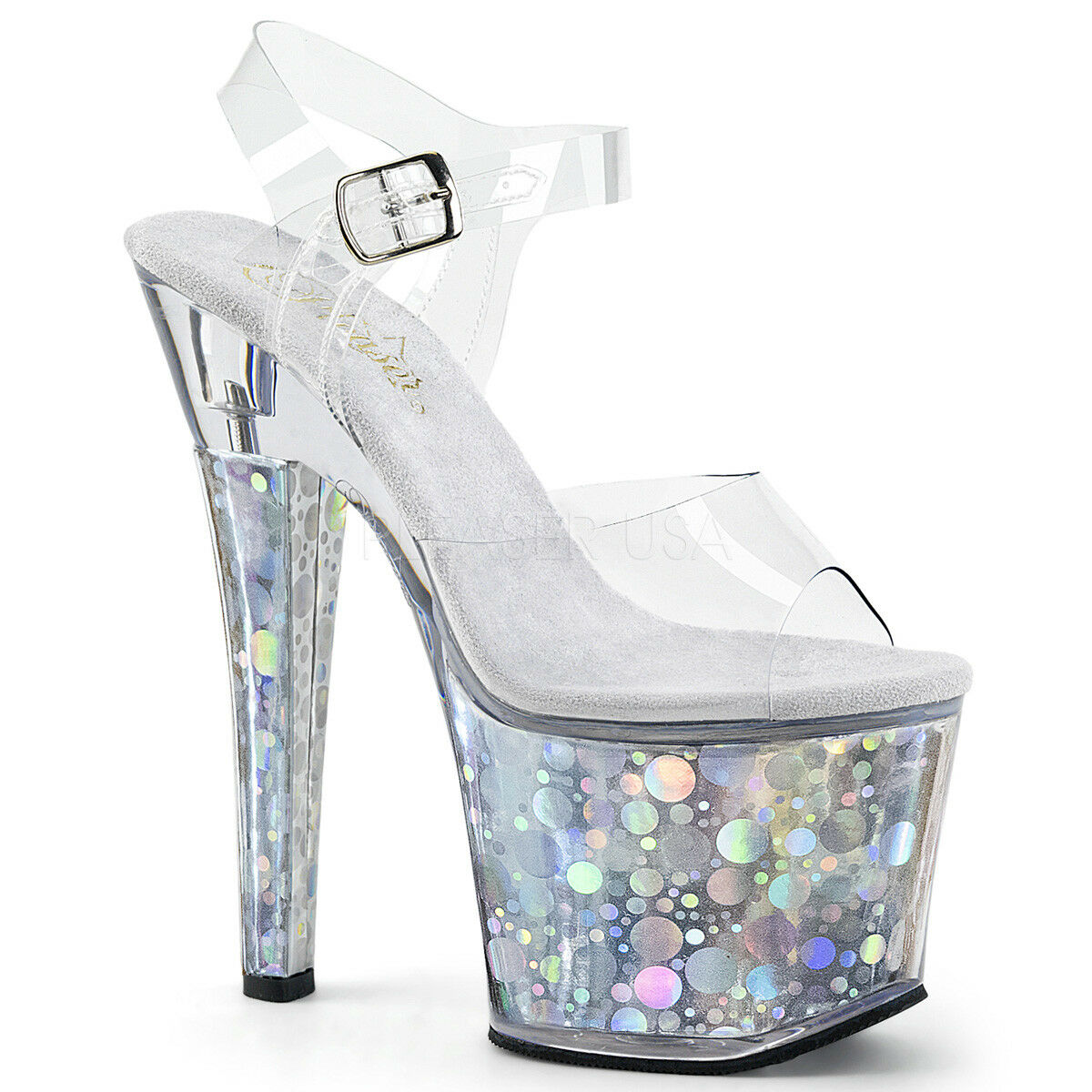 PLEASER RADIANT-708BHG SILVER HOLOGRAM PLATFORM POLE DANCING SANDALS SHOES