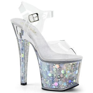 PLEASER-RADIANT-708BHG-SILVER-HOLOGRAM-PLATFORM-POLE-DANCING-SANDALS-SHOES