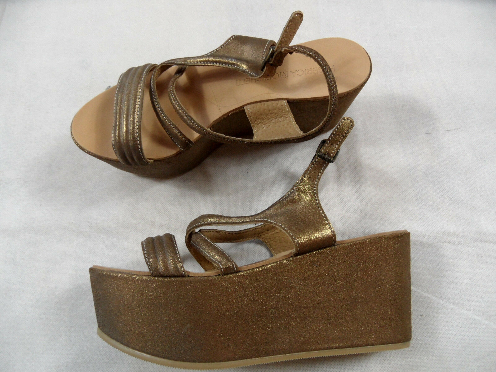 Fabbrica Fabbrica Fabbrica morichetti elegantes sandalias de plataforma oro talla 37 nuevo bb718  costo real