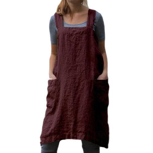 Les Femmes en lin dos croisé tablier robe femmes Baggy Home Cooking Fleuriste Uni Robe