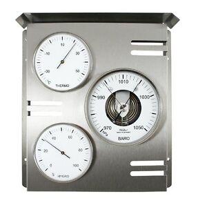 Kleingeräte Haushalt Antiquitäten & Kunst Fischer Wetterwarte Außen,barometer,thermometer,hygrometer,edelstahl,818-01 Schmerzen Haben