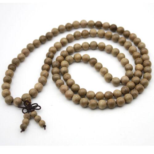 Goldfarbener Seide Holz Tibet Buddhistisch 108 Gebets-Kugeln Mala Halskette