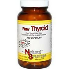 RAW THYROID, Freeze Dried, 390mg x180Caps, Natural Sources, 24Hr Dispatch