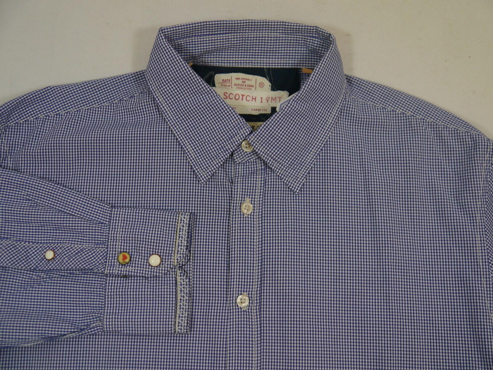 Herren Herren Herren Hemd blau-weiß kariert  Scotch & Soda Gr. XXL Regular Fit NEU   Mangelware  3c4046
