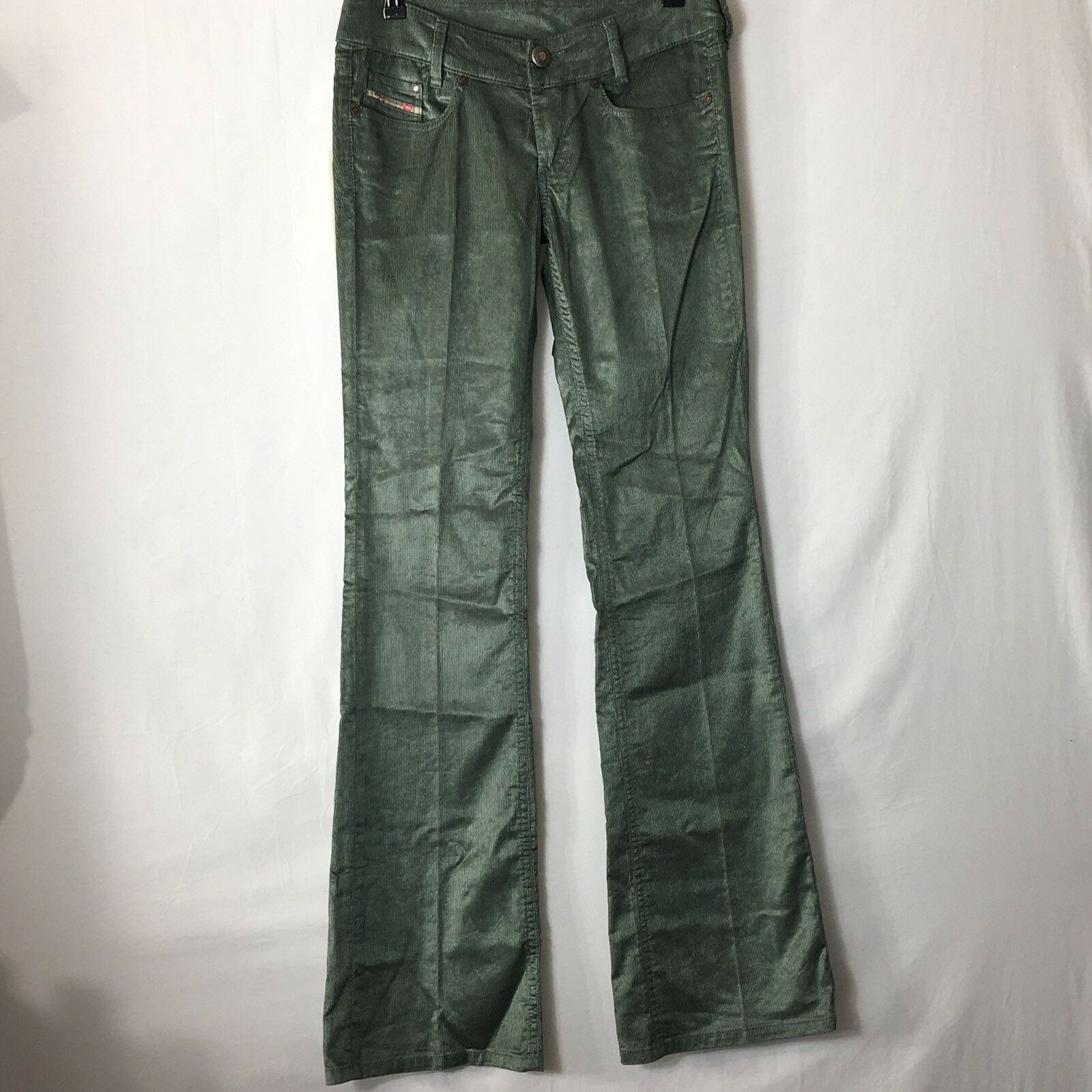 Diesel Womens Corduroy Pants Size 29 Green Inseam 35  New With Tags Long Pants