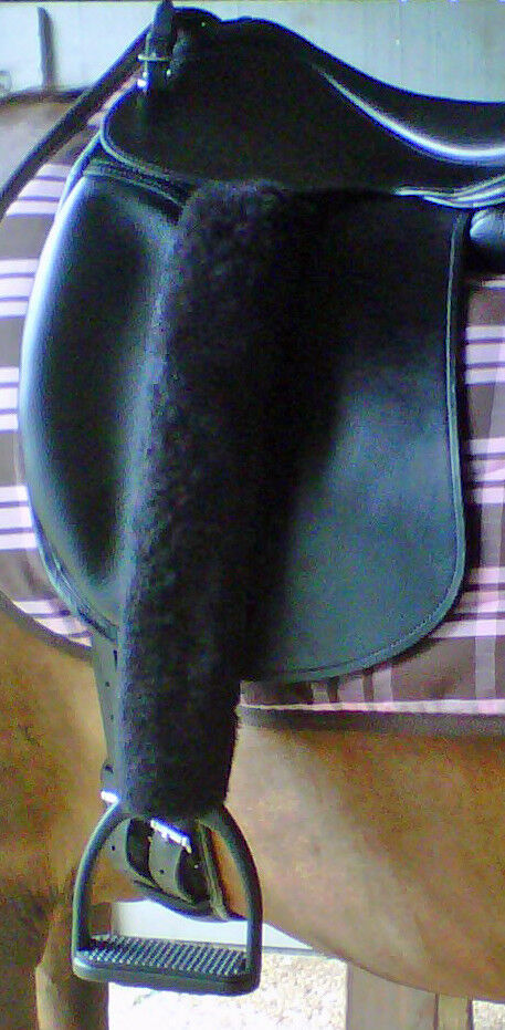 Merino Sheepskin 1  Stirrup Strap Leather Covers 18  Long TUBE or HOOK & LOOP