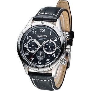 seiko srw037p2 chronograph black dial black leather band mens watch image is loading seiko srw037p2 chronograph black dial black leather band