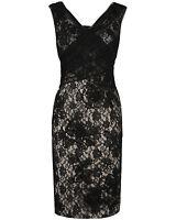 Phase Eight 8 Gloria Dress Black Nude Lace Party Cocktail Uk 16 Us 12 Eu 42