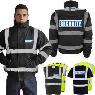 Geschickt Hi Vis Security Reflective Bomber Parka Jacket Vest T-shirt | Yellow & Black