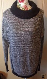 Maurices Womens Sweater Size L Large Chunky Turtleneck Cowl White  Gray Striped