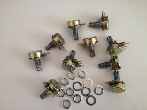 10pcs B50K Linéaire Potentiomètre Pots 15 mm Arbre avec écrous et rondelles