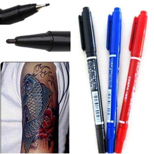 FD163 Dual-Tip Tattoo Skin Marker Piercing Marking Pen Scribe Tool Surgical ☆