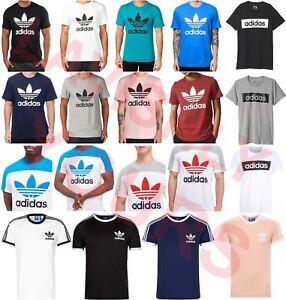 Adidas-Originals-para-Hombre-California-Trebol-Retro-Cuello-Redondo-Mangas-Cortas-Camiseta