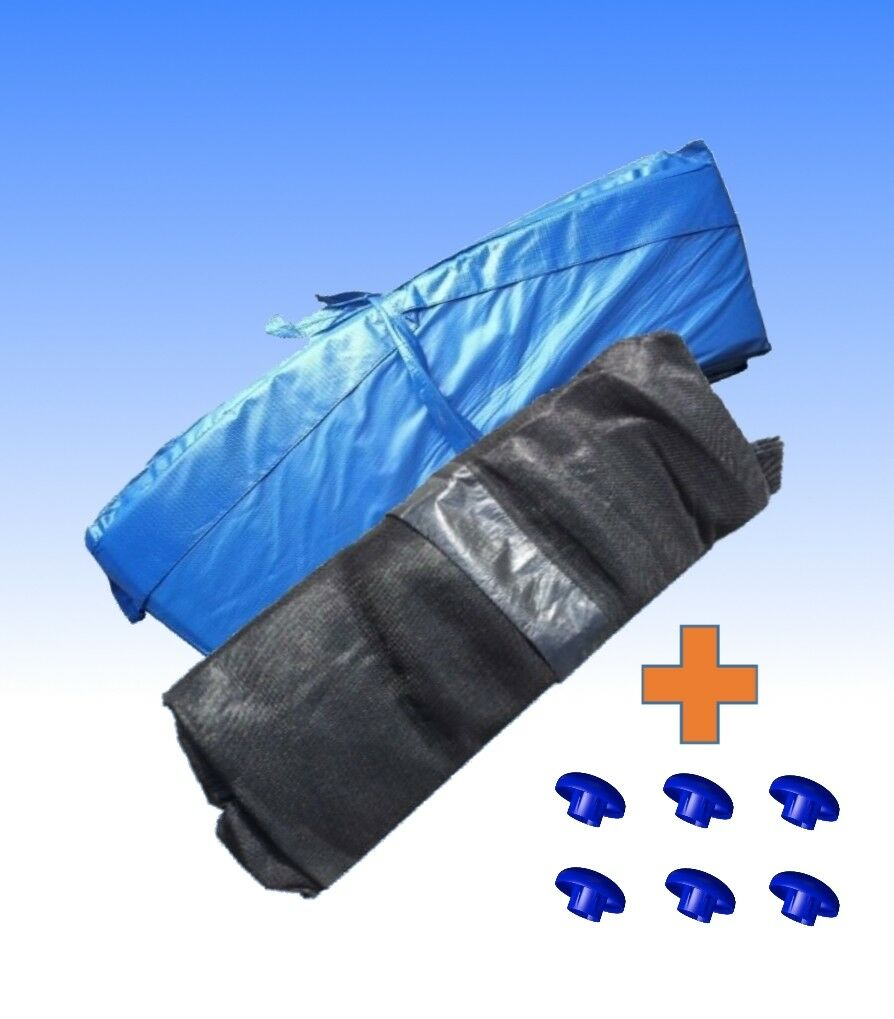 Trampoline Rand Cover Blau + Safety net 6 Rods 244 305 366 396 427 457cm