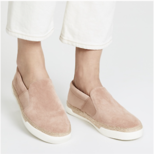 Vince Womens Johan Suede Slip On Sneakers Shoes Espadrille Pink Retail $225