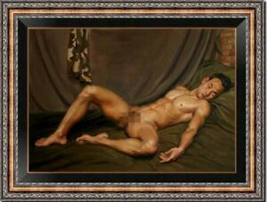 "Hand-painted Original Oil painting art Portrait male nude on Canvas 24""X36"""