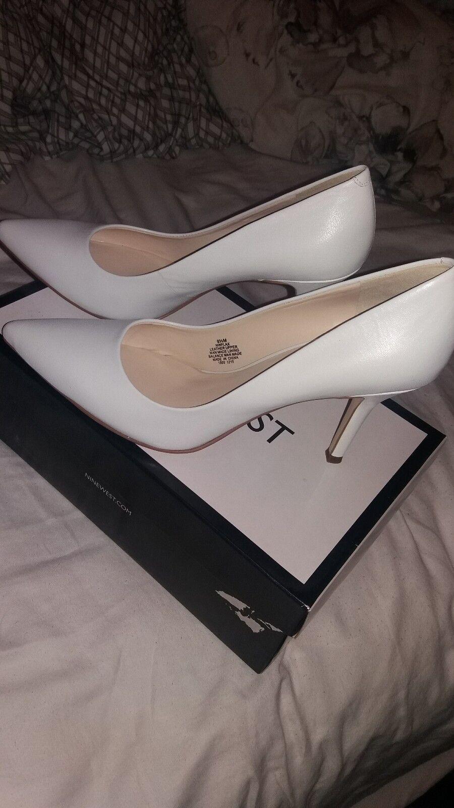 Nine west white heels 9.5