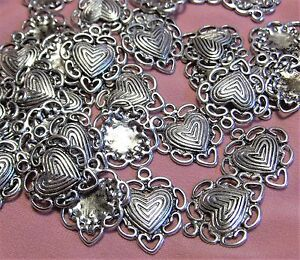 SILVER HEARTS-ROMANCE<wbr/>-VALENTINE-LOV<wbr/>E CHARMS-50 PCS-EARRING DROPS-JEWELRY MAKING