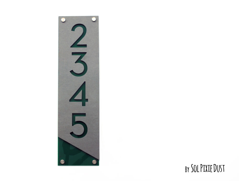Modern House Numbers, Concrete with Grün Acrylic - Grünical - Sign Plaque