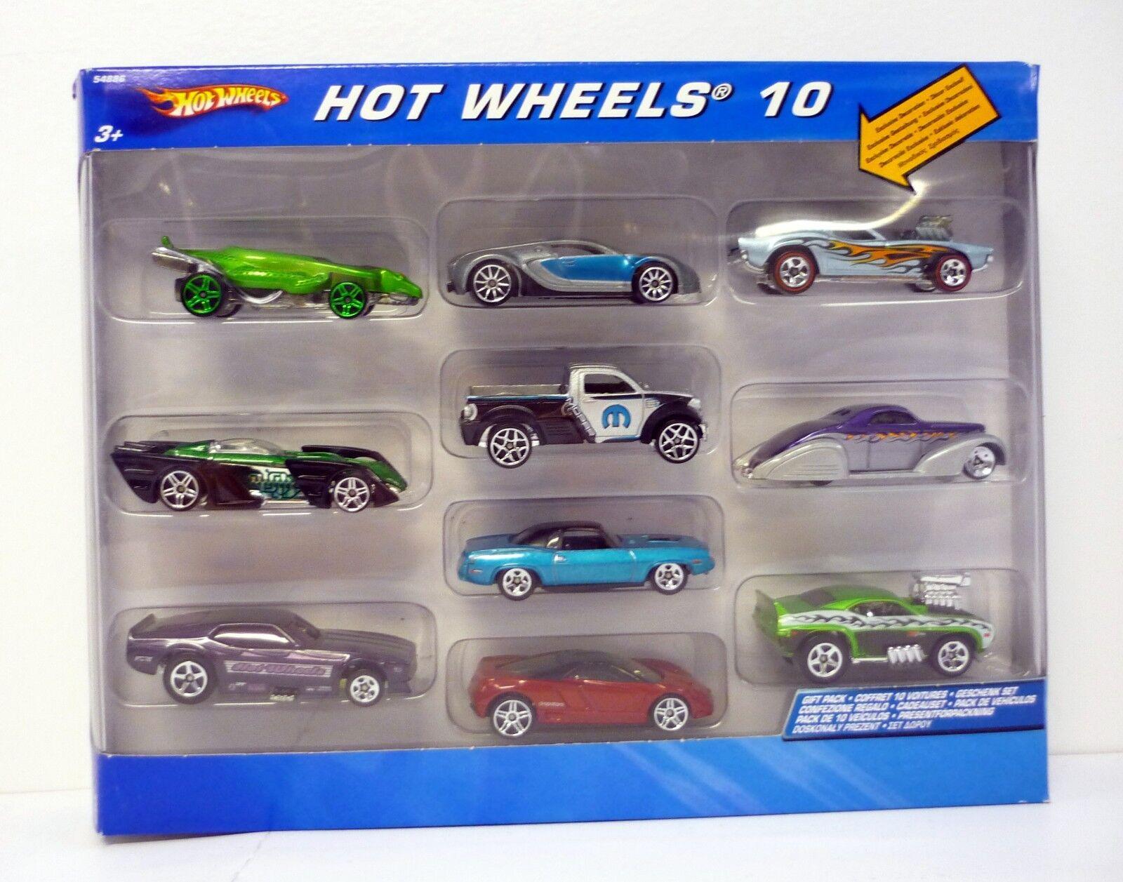 HOT WHEELS 10-CAR GIFT SET Die-Cast Cars Includes Bugatti Veyron MIB 2005