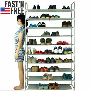 10-Tier-50-Pair-Space-Saving-Storage-Organizer-Free-Standing-Shoe-Tower-Rack-USA