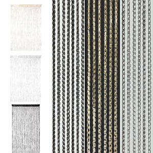 Flecos-de-cadena-de-1-2-piezas-de-Net-Bling-Panel-Divisor-Sparkle-Ventana-Puerta-Cortinas-UK
