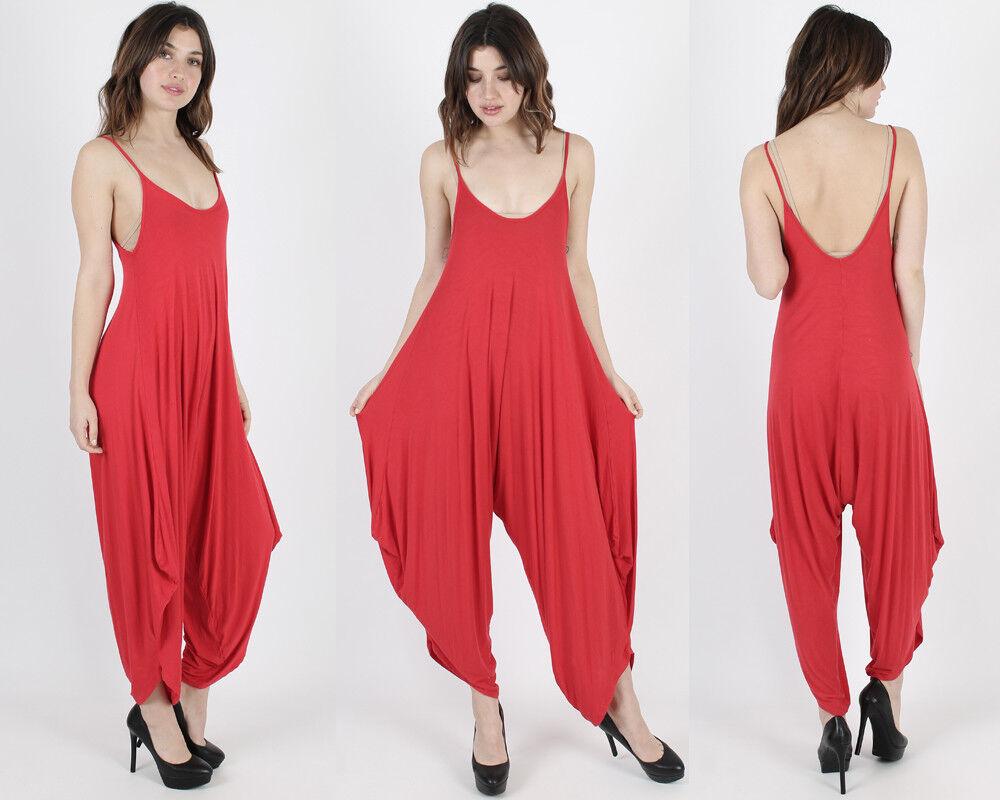 Vintage Red Harem Stretch Jersey Coverup Festival Playsuit Dress Romper Jumpsuit