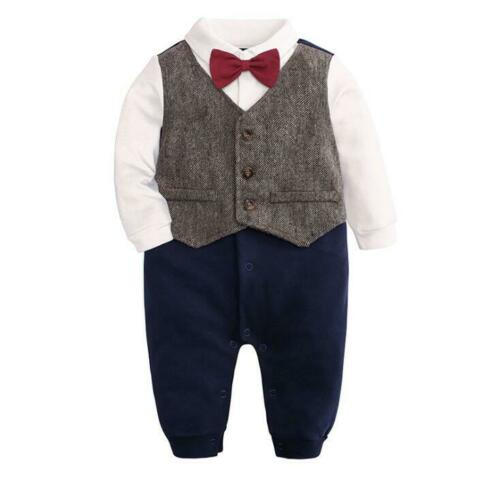 baby boys party tuxedo one piece bodysuit party birthday wedding jumpers outfit