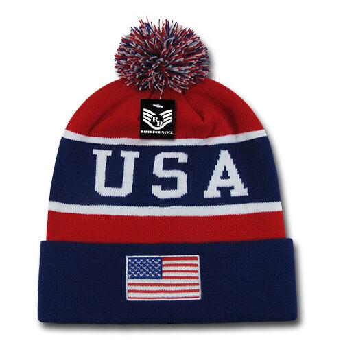 Men -uk Flag Beanie Hat Blue Red Hats
