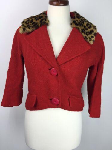 VTG ILGWU Red Tweed Leopard Dyed Fur Collar Womens
