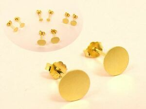 4bed829ac Gold Filled base 925 Sterling Silver FLAT Circle Stud EARRINGS or ...