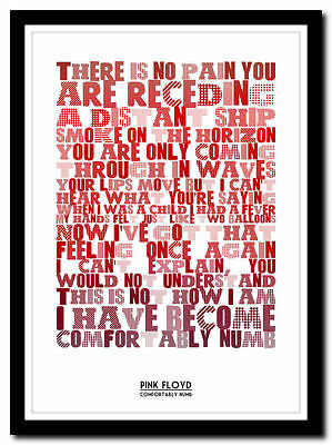 PINK FLOYD - Comfortably Numb - lyric poster ❤ typography art print - 4 sizes