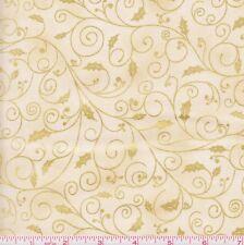 Christmas Fabric - Holiday Accents Metallic Gold Holly Vine Cream - RJR YARD