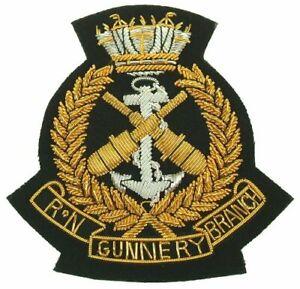 Hs-Royal-Marine-Gunnery-Branche-Blazer-Badge-Lingot-Fil-Veste-Main-Brode