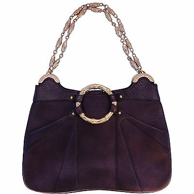 GUCCI CHAIN LINK PURPLE GOLD BAMBOO BAG