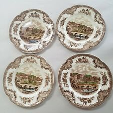JOHNSON BROTHERS china OLD BRITAIN CASTLES brown crown stamp set 4 bread plates