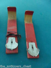 """Vintage Children's Wood Skis - F.D. Peters Co. Gloversville, NY, 13"""" long[12b]"""