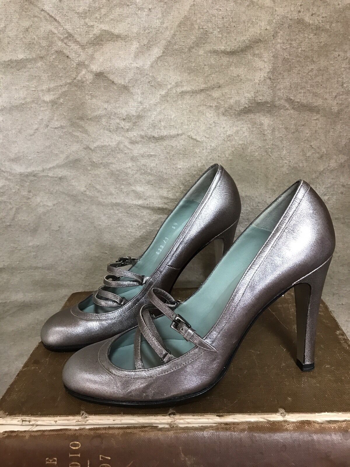 Sigerson JANES Morrison SILVER TAUPE MARY JANES Sigerson Heels Criss Cross Laceup 6.5  32ccdb
