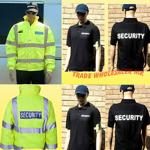 SIA SECURITY HI VIS BOMBER JACKET OR POLO SECURITY GEAR printed to order