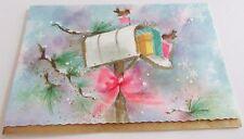 Unused Vtg Christmas Card Open Mailbox w Presents, Birds & Pink Bow Winter Scene