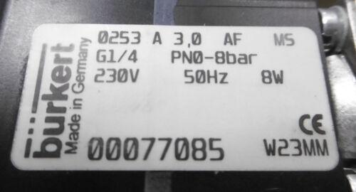 Bürkert électrovanne 0253 a 3,0 AF m5 g1//4 pn 0-8bar 230v 50hz NEUF