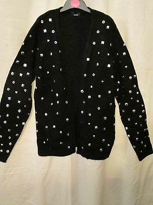 BLACK STUDDED OPENFRONT KNIT, GIRLS CARDIGAN/TOP BN, 13-14YEARS