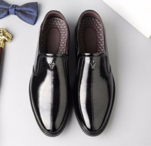 Size 38-44 Mens Business Dress Shoes Patent Leather Pointy Toe Groom Shoes Pump