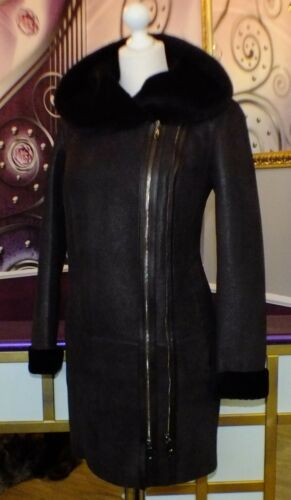 echte Dames Luxe jas Hooded 40 42 Designer Gr 38 schapenvacht 44 qHUUET