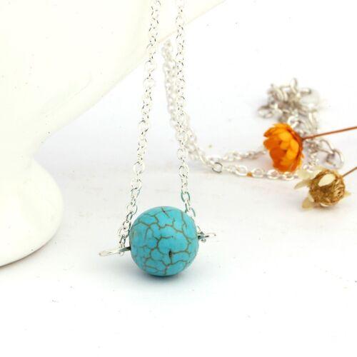 Women/'s Fashion Vintage Silver Stone Charm Bib Necklace Chain Pendant Jewelry