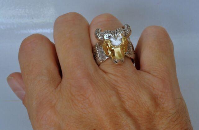 Konstantino Ring Bull Head Mens Sz 12 Sterling Silver 18K Yellow Gold Minos New