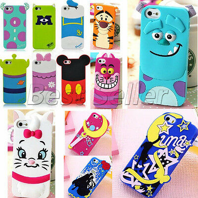 3D Cute Soft Cartoon Silicone TPU Back Case Cover Skin For iPhone 5/5S 6/6 Plus