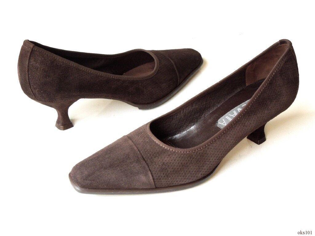 new 340 PREVATA 'Dame' dark Braun suede classic heels schuhe -  7.5
