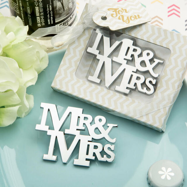 50 of Mr & Mrs Theme Silver Metal Bottle Openers Wedding Favors Bridal Shower
