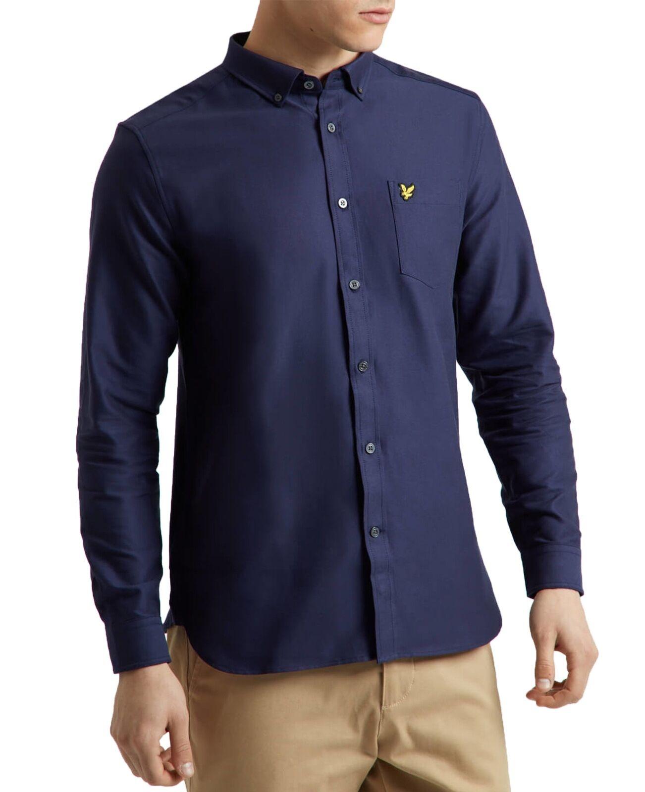 Lyle & Scott Cotton Oxford Shirt Regular Long Sleeve Button Down Collar Navy
